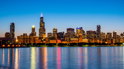 Chicago skyline in the evening from Lake Michigan - CHICAGO, ILLINOIS - JUNE 12, 2019 Wall mural