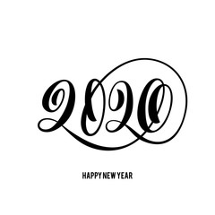 Happy New Year 2020 card with hand drawn lettering.