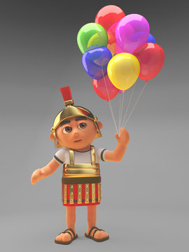 Celebratory Roman centurion soldier with party balloons, 3d illustration