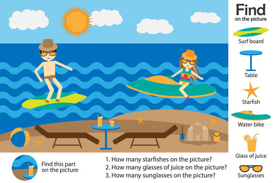 Activity page, summer beach people cartoon style, find images and answer the questions, visual education game for the development of children, kids preschool activity, worksheet, vector illustration