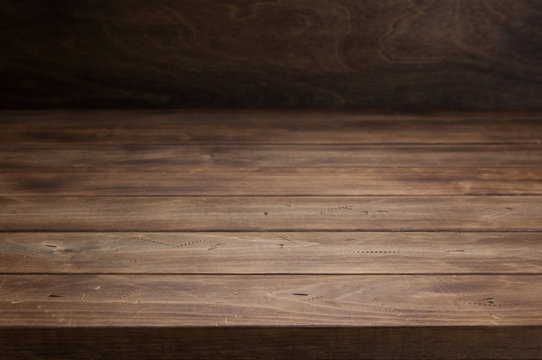 empty wooden table in front, plank board background texture surface