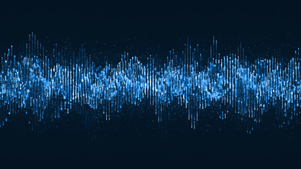 Digital wave particles music and small particles dance motion on wave for digital background.