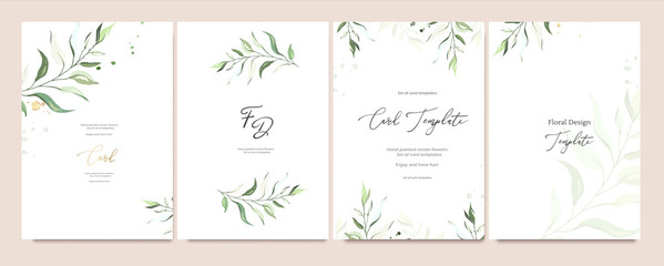 Set of card template with herbs, leaves.  Floral poster, invite. Vector decorative greeting card or invitation design background with watercolor Wall mural