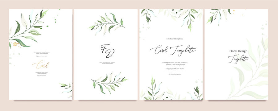 Set of card template with herbs, leaves.  Floral poster, invite. Vector decorative greeting card or invitation design background with watercolor