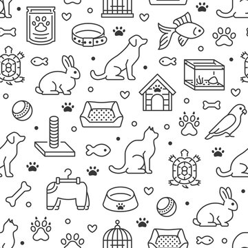 Pet shop vector seamless pattern with flat line icons of dog house, cat food, bird cage, rabbit, fish aquarium, animal paw. Black white color background, wallpaper for veterinary clinic