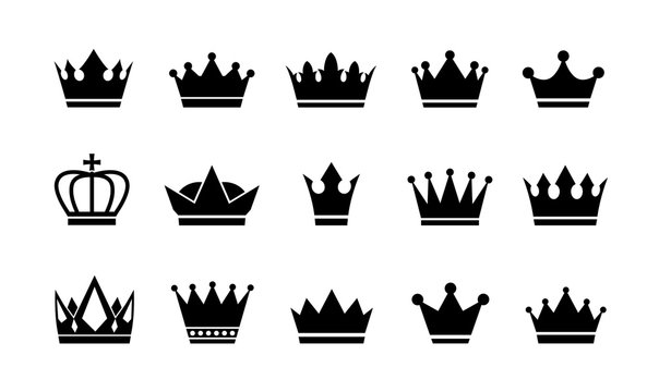 Royal crown icons collection set. Big collection crowns. Vintage vector crown.