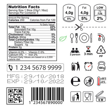 Packaging icon set. Nutrition facts. Vector elements. Ready for use in your design. EPS10