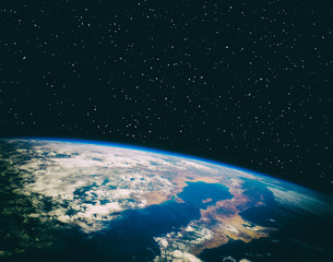 View of the planet earth from space. Gas, nebula, stars. The elements of this image furnished by NASA.