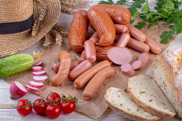 sausages with fresh herbs on the table