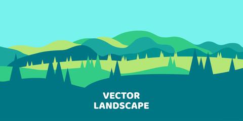 Printed kitchen splashbacks Light blue Abstract vector flat background. Minimalist landscape in green tones.