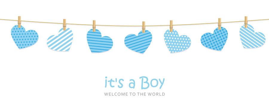 its a boy welcome greeting card for childbirth with hanging hearts vector illustration EPS10