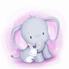Friendship Elephant and Rabbit Illustration