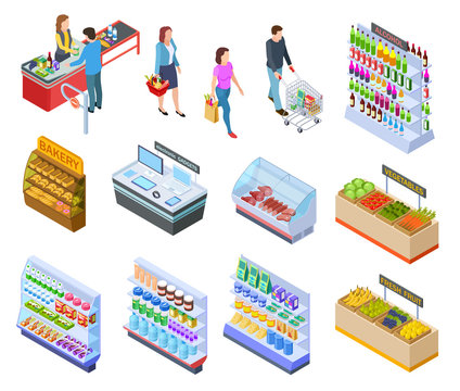 People isometric store. Shopping grocery market customer supermarket products, persons in retail shop buying food 3d vector items. Illustration of supermarket and grocery, refrigerator and cashier