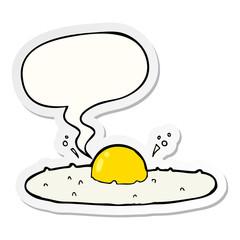 cartoon fried egg and speech bubble sticker