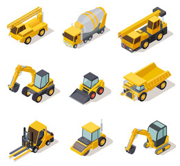 Isometric industrial machinery. 3d construction equipment truck vehicle power tools heavy machine excavator bulldozer map vector set. Illustration of bulldozer machinery, machine construction