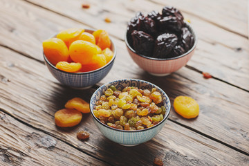 Concept of healthy meal with dried fruits