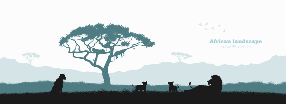 Black silhouette of lion pride. Landscape with wild african animals. Scene of savannah wildlife. Travel poster of Africa