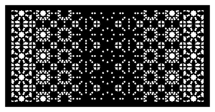 Islamic cnc arabesque vector panel. Laser cutting. Template for interior partition in arabic style. Ratio 1:2