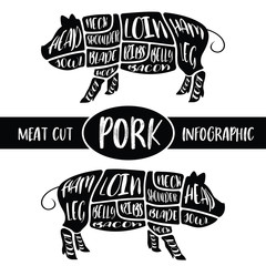 Meat cut infographic , Pig pork parts graphic , print for sign wallpaper symbol badge label shirt others , vector illustration