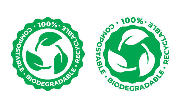 Biodegradable and compostable recyclable vector icon. Recycling, 100 percent bio recyclable package green leaf logo