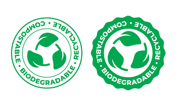 Biodegradable, compostable and recyclable vector icon. Recycling, Bio recyclable eco friendly package green leaf stamp logo