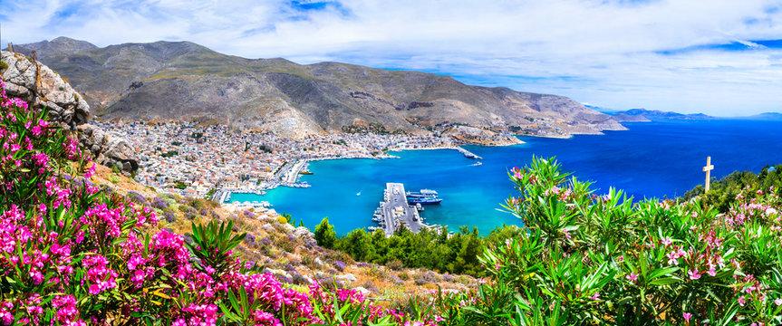beautiful scenery of Kalymnos island - view of Pothia town. Greece, Dodecanese