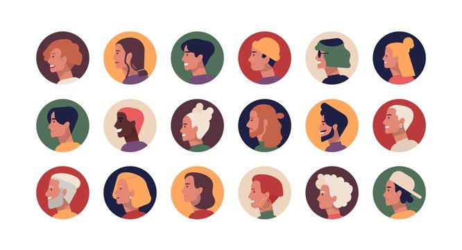 Collection of round profile portraits of young and elderly stylish men and women with various hairstyles. Bundle of funny people's heads or faces. Set of avatars. Flat cartoon vector illustration.