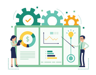 Presentation for business. Businessman and businesswoman giving corporate or marketing information, demonstrating, showing company results, plan. Vector abstract illustration with faceless character