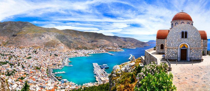 Amazing Greece series - beautiful Kalymnos island, Dodecanese. view of town and agios Savvas monastery