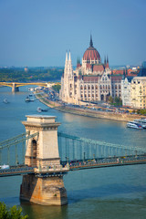 Wall Mural - Aerial view of Budapest parliament and Chain bridge over Danube river, Hungary