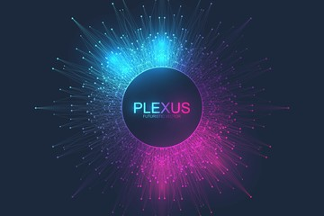 Abstract plexus background with connected lines and dots. Molecule and communication background. Graphic background for your design. Lines plexus big data visualization. Vector illustration