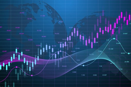 Stock market graph or forex trading chart for business and financial concepts. Abstract finance background investment or Economic trends business idea. Stock market data. Vector illustration