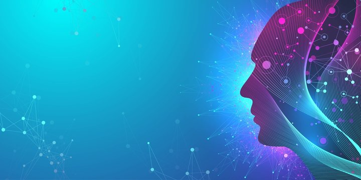 Artificial intelligence in humanoid head with neural network thinks. Artificial Intelligence and Machine Learning Concept. Humanoid brain. Neural networks, modern technologies concepts, vector.