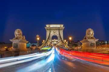 Wall Mural - Facing Chain bridge at night with car light trails  in Budapest, Hungary