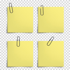 Blank notes with realistic paper clip for your text, isolated.