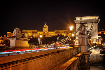 Wall Mural - Buda castle and Chain bridgein Budapest at night, Hungary