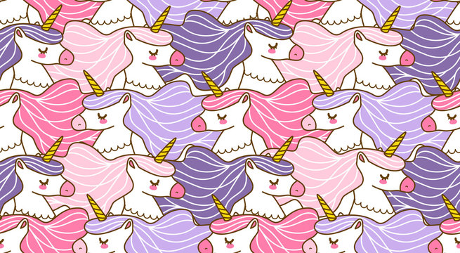 Seamless pattern with cute cartoon unicorns for Your magic design