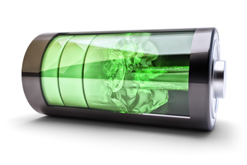 Wireless power source charging concept, accumulator battery with green charging level indicators and the flow of charging energy, isolated on white