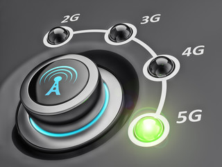 New mobile cellular network telecommunication technology concept, switch button with telecommunication standards and green led on 5g