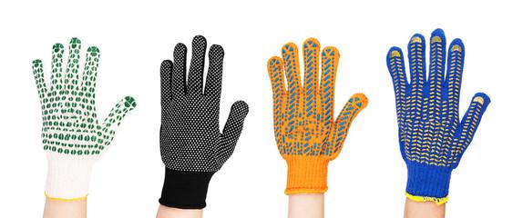 new garden gloves isolated on white background set
