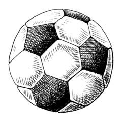 Football sketch. Hand drawn soccer ball, sketch style vector illustration. Single, isolated on white background.