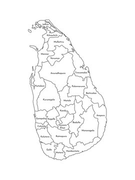 Vector isolated illustration of simplified administrative map of Sri Lanka. Borders and names of the regions. Black line silhouettes