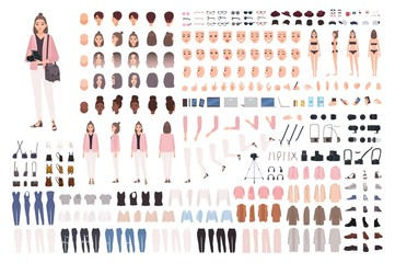 Girl photographer or photo journalist DIY kit or constructor set. Collection of body parts, clothes, accessories. Cute female cartoon character. Front, side, back views. Flat vector illustration.