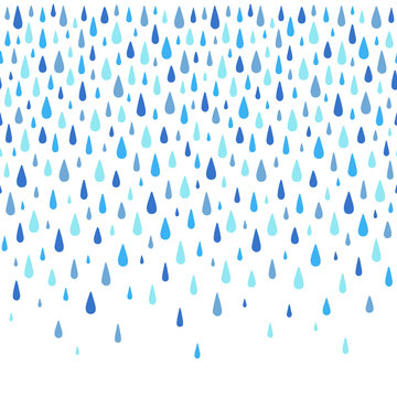 Autumn background. Water, rain drops border, frame made of hand drawn droplets, raindrops, tears. Seamless in horizontal direction fall template, design element. Aquatic rainy decoration, ornament.