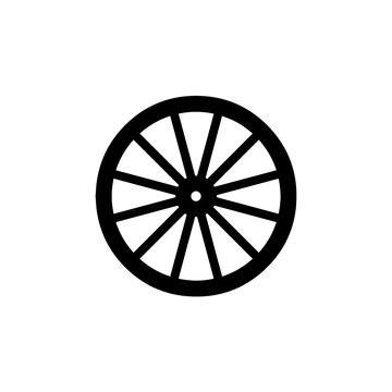 wooden wheel icon. vector illustration