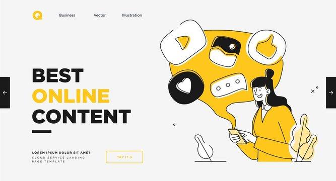 Presentation slide template or landing page website design. Business concept illustrations. Modern flat outline style. Online media