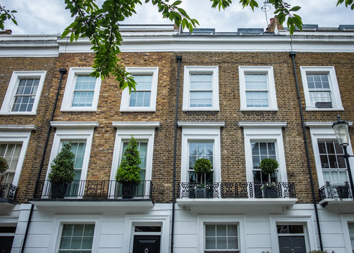 Close up of upmarket London townhouses