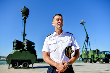 Supreme Commander of the Swedish Armed Forces Micael Byden poses for a picture in Visby