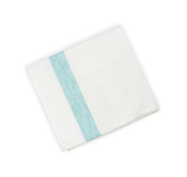 Folded linen napkin with blue line isolated on white background