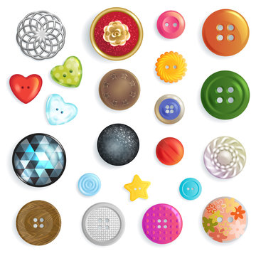 Sewing button vector fashion design clothing accessory tailor collection illustration set of colorful kids plastic cloth round object heart star to sew clothes dress isolated on white background